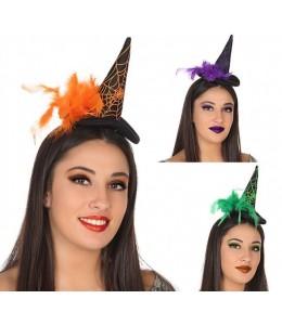 Sombrero de Bruja Mini con Plumas.