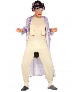 Disfraz de Abuela chochona con peluca de rulos
