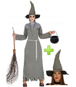 Disfraz de Bruja Malvada gris