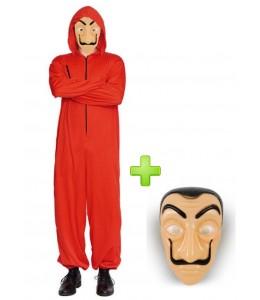 Disfraz de atracador buzo rojo