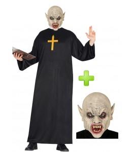 Disfraz de Cura con mascara de Vampiro