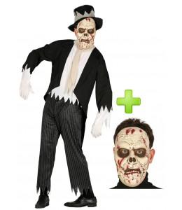 Disfraz de novio fantasma con mascara