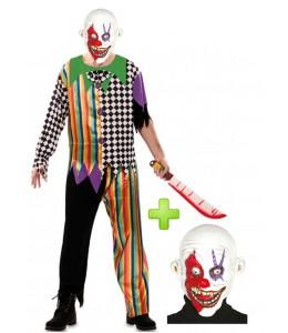 Disfraz de Payaso Asesino Siniestro con mascara