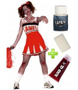 Disfraz de Animadora Zombie con set maquillaje