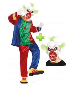 Disfraz de Payaso Asesino colores con mascara