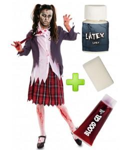 Disfraz de Colegiala Zombie chaqueta con set de maquillaje