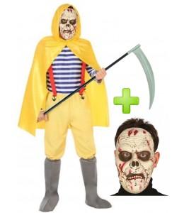 Disfraz de Pescador Amarillo Zombie con mascara
