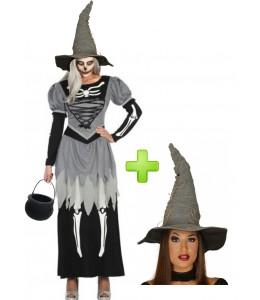 Disfraz de Bruja Esqueleto gris