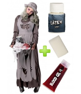 Disfraz de de Doncella Zombie con set de maquillaje