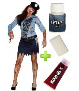 Disfraz de Poli Zombie chica con set de caracterizacion