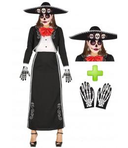Disfraz de Catrina Mariachi largo