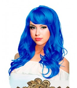 Melena Ondulada Larga Azul