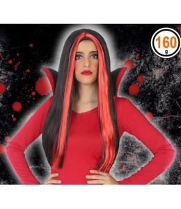 Melena Negra con Mechas Rojo