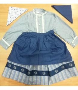 Satz Hausgemachte Blau und Grau mit Streifen und Eguzkilore