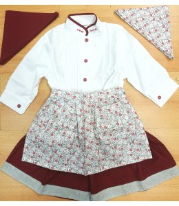 Set Home White and Maroon Detail and Flower