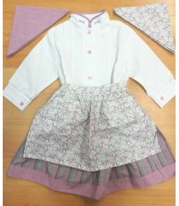 Set Home-made White and Pink with Stripes and Detail Flower