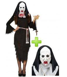 Disfraz de Monja Sangrienta con mascara