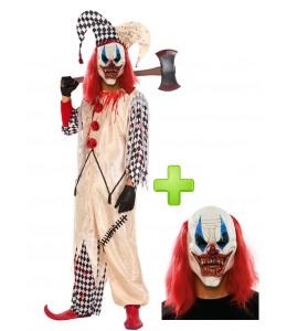 Disfraz de Payaso Asesino Arlequin con mascara