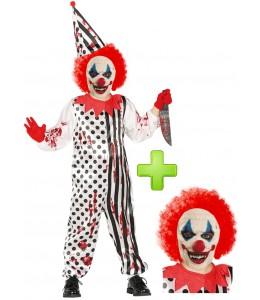 Disfraz de payaso asesino para niño arlequin