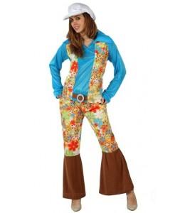 Disfraz de Hippie Chica Azul