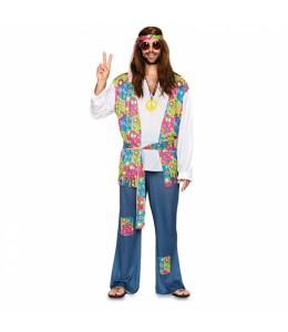 Disfraz de Hippie Azul Hombre