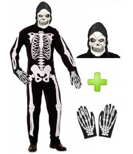 Disfraz de Esqueleto con mascara y guantes - Pack Halloween