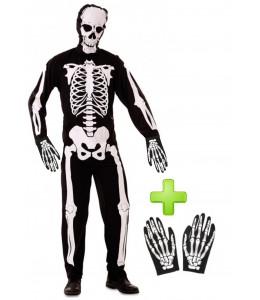 Disfraz de Esqueleto con guantes - Disfraces Halloween