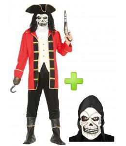 Disfraz de Pirata rojo Calavera - Disfraces Halloween