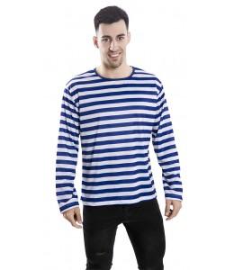 Camiseta de Rayas Azul y Blanca