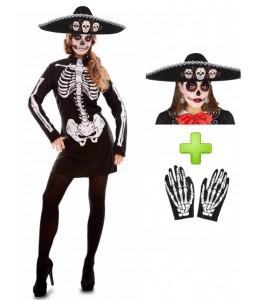 Disfraz De Catrina vestido corto - Disfraces Halloween