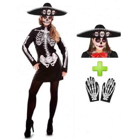 Disfraz De Catrina Vestido Corto Disfraces Halloween