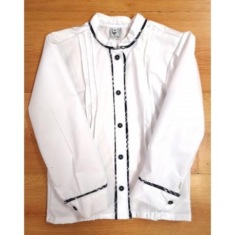 Camisa Blanca con Bies de Cuadros