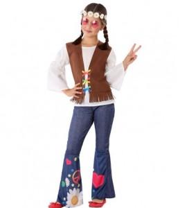 Disfraz de Hippie Marron Niña