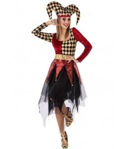 Disfraz de Arlequin Burdeos y Beige