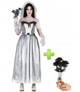 Disfraz de Novia Cadaver con ramo - Disfraces Halloween