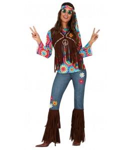 Disfraz de Hippie Flecos Mujer