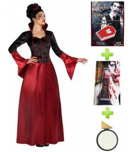 Disfraz de Vampiresa burdeos con set caracterizacion