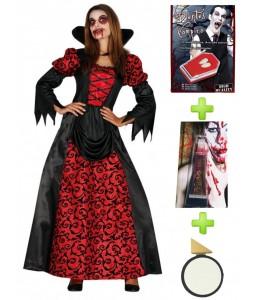 Disfraz de Vampiresa Gotica con set de caracterizacion - Disfraces Halloween