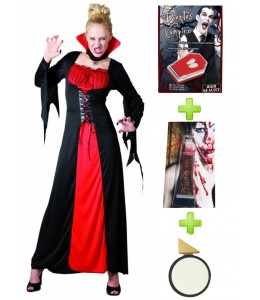 Disfraz de Vampiresa Roja con set de caracterizacion - Disfraces Halloween