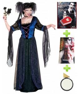 Disfraz de Vampiresa Princesa Gotica con set de caracterizacion