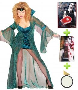 Disfraz de Vampiresa Verde con set de caracterizacion