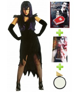 Disfraz de Vampiresa Dark Mistress con set caracterizacion