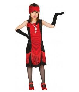 Disfraz de Charleston Negro y Rojo Infantil