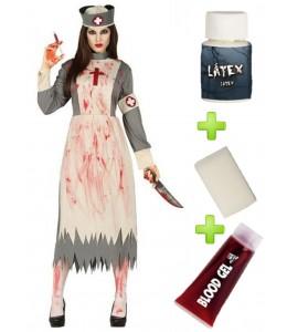 Disfraz de Doctora Zombie con set de caracterizacion