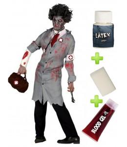 Disfraz de Doctor Zombie con set de caracterizacion