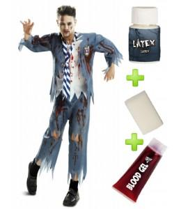 Disfraz de Colegial Azul Zombie con set de Caracterizacion