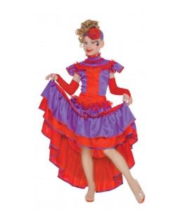 Disfraz de Can Can Morado Infantil